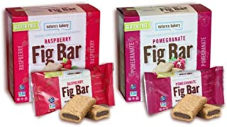 Nature's Bakery Gluten-Free Fig Bar Cookies Made with Ancient Grains 2 Flavor Variety Bundle: (1) Nature's Bakery Raspberry Fig Bars, and (1) Nature's Bakery Pomegranate Fig Bars, 12 Oz. Ea