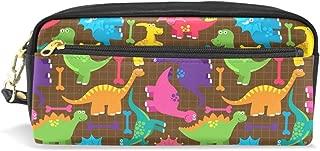 ALAZA Dinosaur Pencil Case Zipper PU Leather Pen Bag Cosmetic Makeup Bag Pen Stationery Pouch Bag Large Capacity
