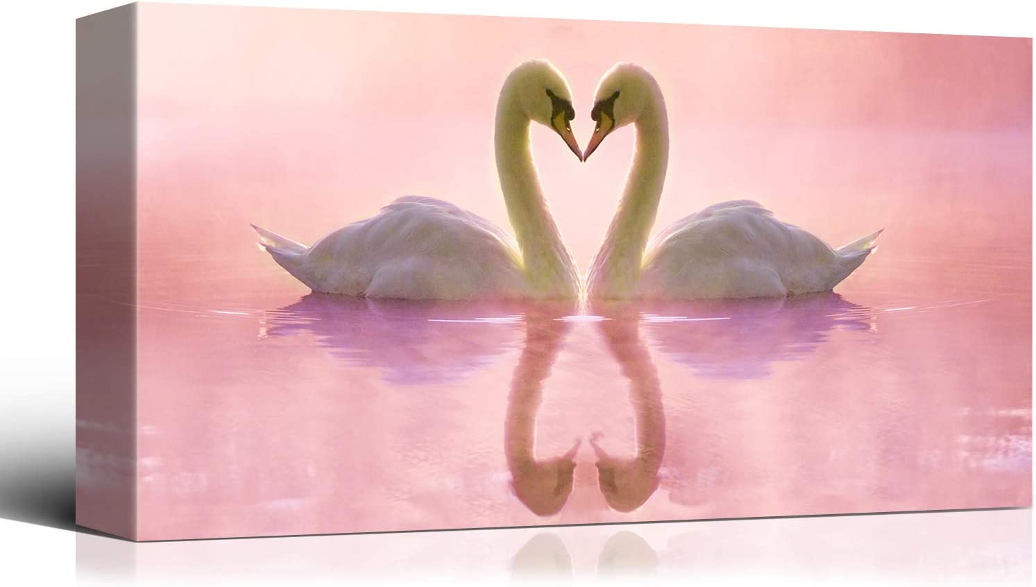 Laoife Animal Canvas Wall Art 40x20 Cash special price Pink Swan Inches White Backg Animer and price revision