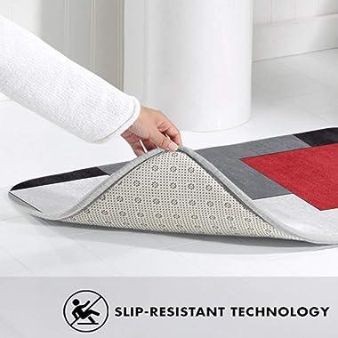 NiYoung Bathroom Rug Shag - 3 Pack White,Grey,Black and Red Irregular Geometric Memory Foam Non-Slip Bathroom Rug/Large Conto