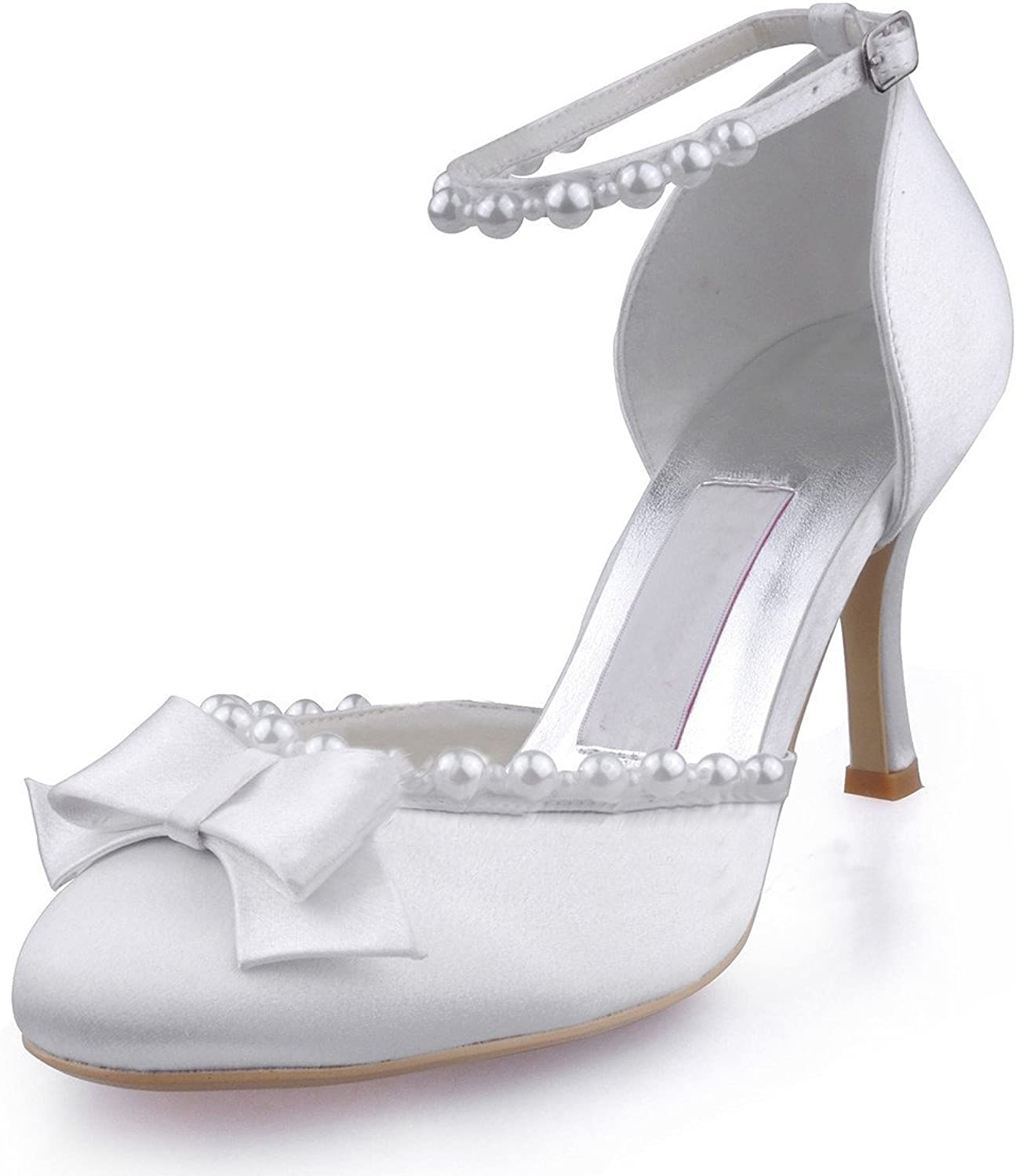 Minitoo Womens Pointy Toe Mid Heel Back Strap Bridal Wedding Satin Pump shoes