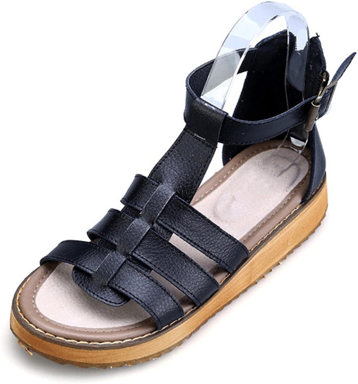 Kyle Walsh Pa Women Platform Sandals,Summer Rome Open Toe Buckle Flat Heel Zipper Slide shoes White