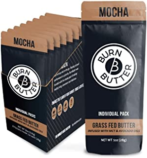 Keto Coffee Creamer Packets with MCT Oil and Grass Fed Ghee Butter - Ketogenic - Liquid - Sugar Free Chocolate Mocha (8 Packets)