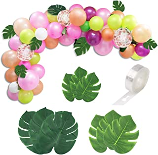100 Pcs DIY Tropical Balloons Garland Kit Luau Balloon Arch Garland Pink Rose Gold Perfect for Baby Shower Bridal Shower Birthday Party Decorations