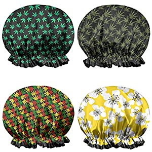 Cute Cannabis Leaf Polyester Comfort Silk Shower Caps for Adults Girls Sleep Travel 4 Pack
