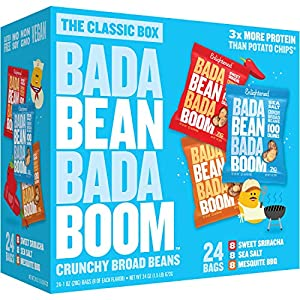 Bada Bean Bada Boom Plant-Based Protein, Gluten Free, Vegan, Crunchy Roasted Broad (Fava) Bean Snacks, 100 Calorie Packs, The Classic Box Variety Pack, 1 Ounce (24 Count)