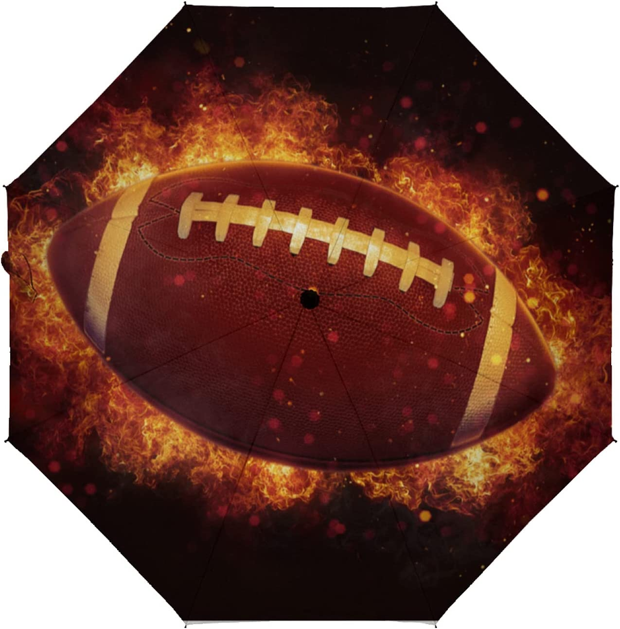 ZXZNC Golf Umbrella New Orleans Mall Flying American Ball Football Discount mail order Burning Flames