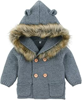 Weixinbuy Kids Baby Boy's Girl's Faux Fur Fleece Button-up Hooded Jacket Outerwear Winter Warm Coat