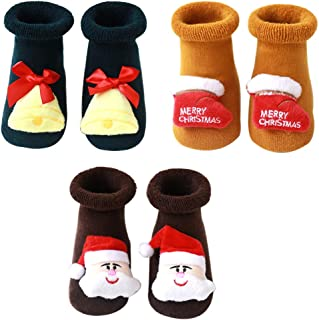 N&P, Calcetines Antideslizantes Navideños para Bebé Niños Niñas Recién Nacido Infantil de Felpa Termicos Suave Algodón Lindos con Papá Noel Reno Arbol de Navidad Invierno 3 Pares