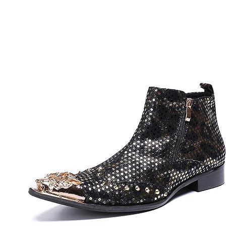 LOVDRAM Chaussures Chaussures en Cuir pour Hommes Mode Luxe Hommes Bottes en Cuir Véritable Bottines Hommes Italien Italien Chaussures Habillées Chaussures Bout Pointu Rivets Cowboy Bottes  livraison directe et rapide