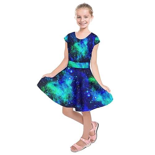 62f3d51a38a PattyCandy Girls Celestial Sky Galaxy Art Starry Night Designs Casual Short  Sleeve Dress
