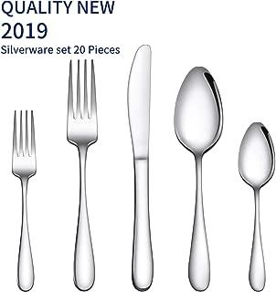 Gineoo Silverware Set 20-Piece, Stainless Steel Flatware Utensils Set Service for 4, Simple Look & Modern Design, Dishwasher Safe
