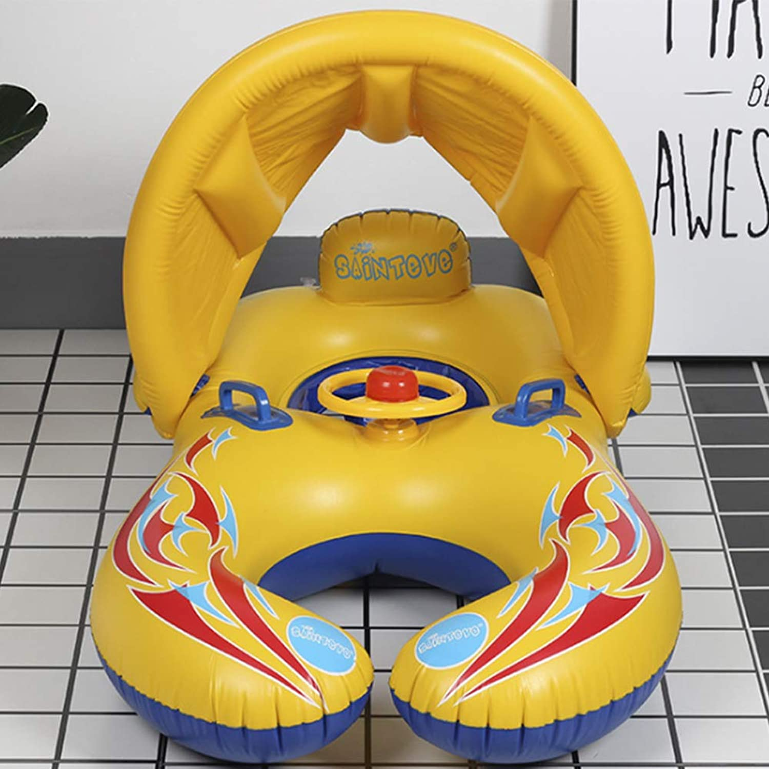 Swimming Ring,hAohAnwuyg Water Equipment Inflatable Thicken Swim Float Seat Boat Baby Safety Swimming Ring with Sunshade