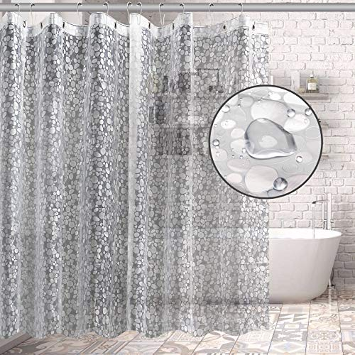 Bagail Duschvorhang, 182,9 x 182,9 cm, 3D klare Kieselsteine, EVA-Kunststoff, Badezimmer-Duschvorhang mit 3 Magneten, für Duschkabine, Badewannen, wasserdicht, geruchlos (PVC-frei)
