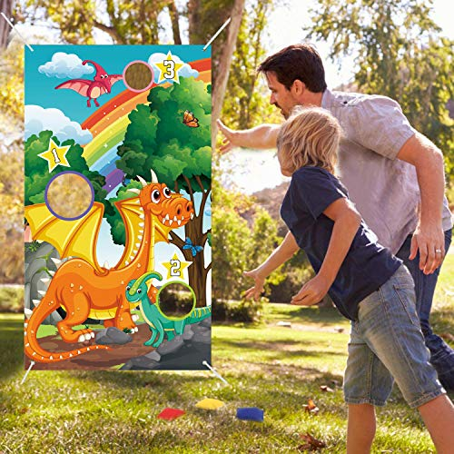 Dinosaur Toss Games Banner,Cute Dinosaur Party Cornhole Game with 4 Bean Bags for Kids Boys Birthday, Indoor Outdoor Lawn Yard Games, Perfect for Dinosaur Theme Party Decorations and Supplies