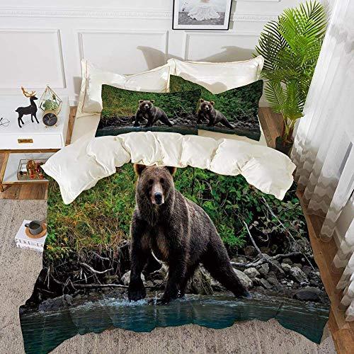 Qoqon Bettwäsche - Bettbezug-Set, Grizzly-Braunbär im Lake Alaska Unberührter Walddschungel Wildlife Image Dekorativ, Gre, hypoallergenes Bettbezug-Set aus Mikrofaser mit 2 Kissenbezügen 50 x 75 cm