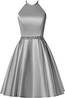 d6fde5fffa BBCbridal Satin Halter Homecoming Dresses Short Beaded Cocktail Dress for Juniors  Prom Gowns with Pockets