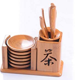 TECHSON Bamboo Tea Tool Set, Chinese Gongfu Tea Ceremony Accessories, (Spoon, Needle, Scoop, Clip, Tray, Utensils Set)