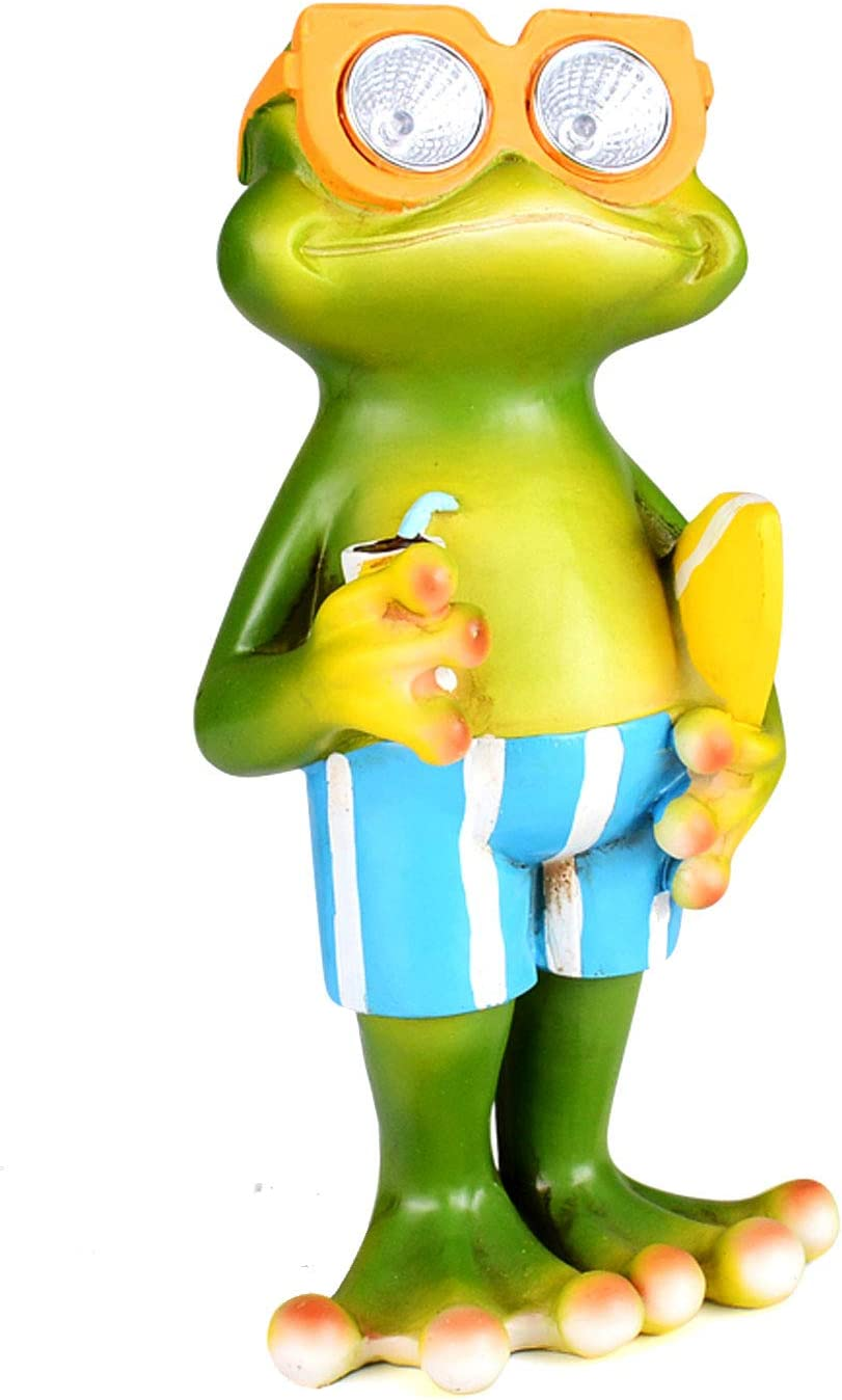 Solar Powered Frog with Surfboard LED Decor Garden Outdoor Popular product Light It is very popular