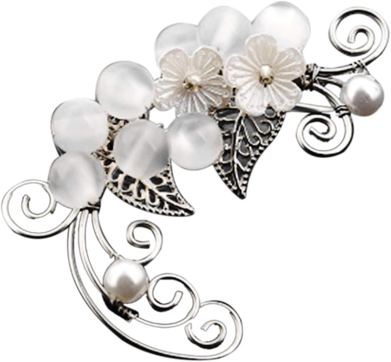 Fashion Vintage Drop Dangle Earrings,1Pc Hollow Flower Leaf Elf Faux Pearl Ear Cuff Clip On Earring Party Jewelry, Boho Bohemian Earrings for Women Girls
