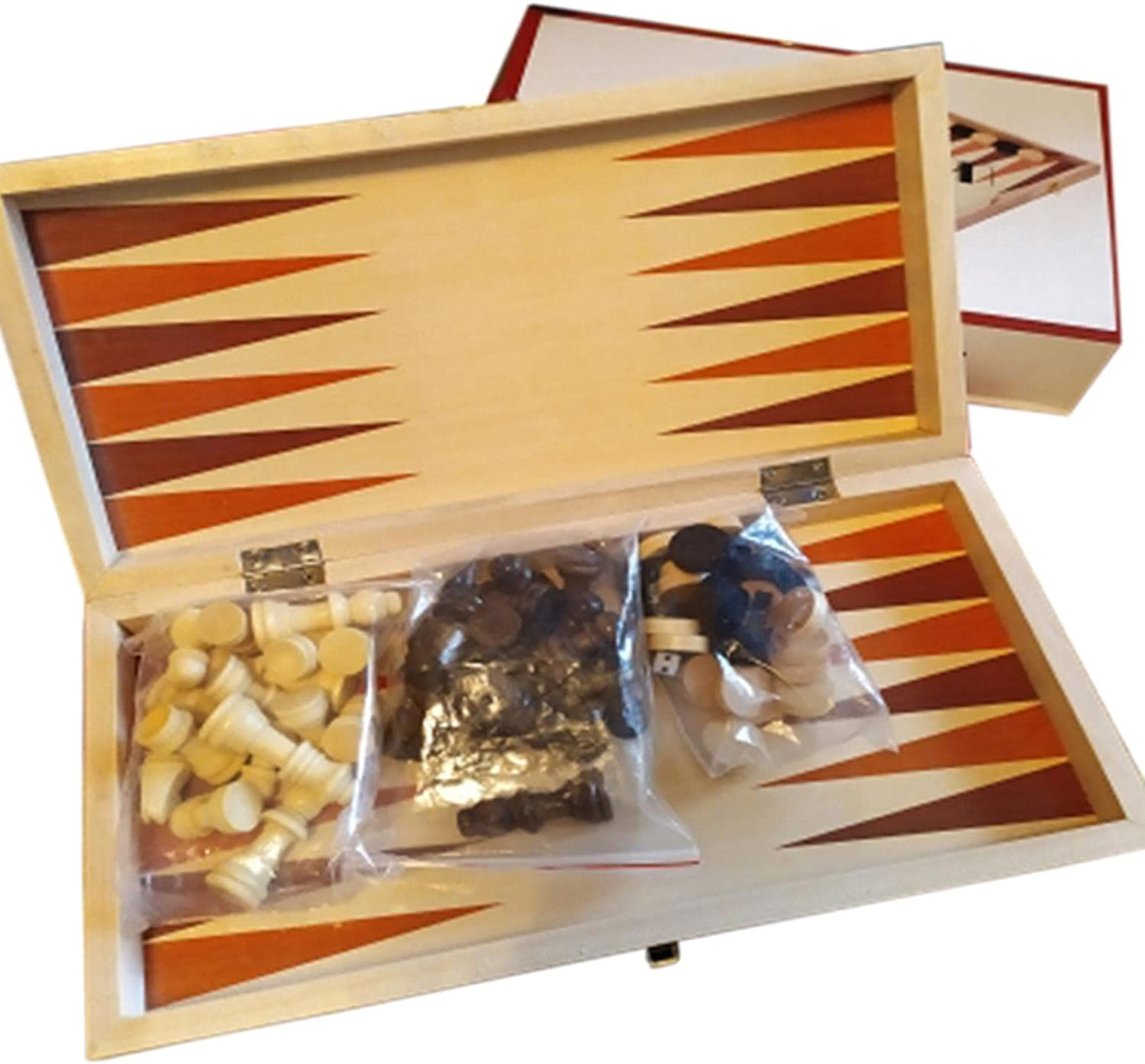 Wooden Chess Excellence Set 3 in 1 Portable Check Travel Folding Ranking TOP19 Backgammon