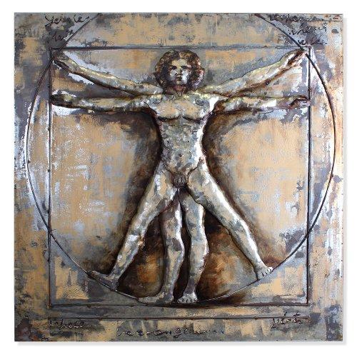 phoenixarts Tableau métallique en 3D Motif Homme vitruvien de Léonard da Vinci 100 x 100 cm