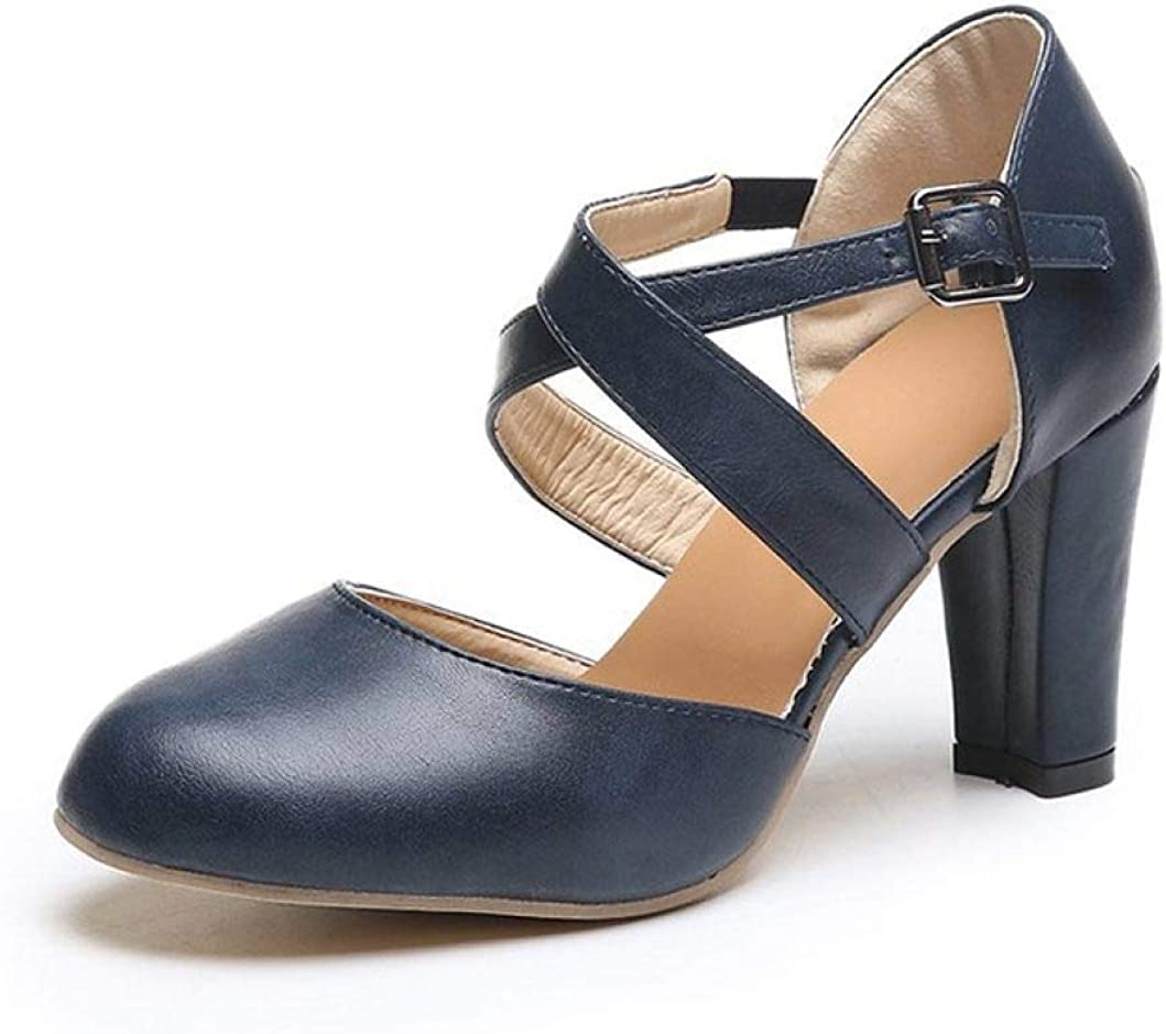 CYBLING latest Women's Comfort Chunky Large discharge sale High Block Rou Heels Pumps Closed