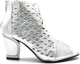 Stylish & Comfort Shoes Women Party Shoe Open Toe Back Zipper Mid Chunky Heel Net02