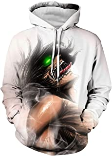 CHENMA Men Attack on Titan 3D Print Pullover Hoodie Sweatshirt with Front Pocket