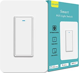 Smart Light Switch, Aleath Smart Switch, 2.4Ghz WiFi Light Switch - Neutral Wire Needed, Compatible with Alexa, Google Assistant and IFTTT, Timer and Remote Control - 1gang