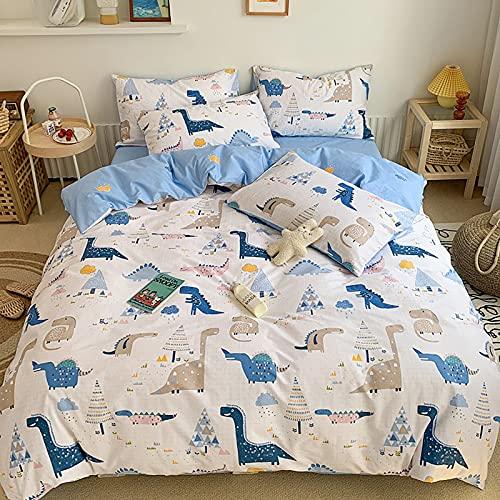 GETIYA Ropa de cama infantil de 135 x 200 cm, diseño de dinosaurios, color blanco y azul, reversible, ropa de cama juvenil con cremallera, funda de edredón con funda de almohada de 80 x 80 cm