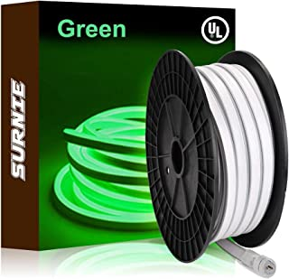 SURNIE Neon Rope Lights Led 50ft Waterproof LED Neon Strip Lights 110v Green Neon Lights Connectable Indoor Outdoor Decor ...