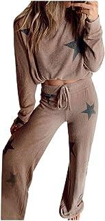 catmoew Mujer Mangas Larga Pantalon Largo 2 Piezas Suave Cómodo Estampados Pijamas Conjunto de Chándal de Ropa Deportiva