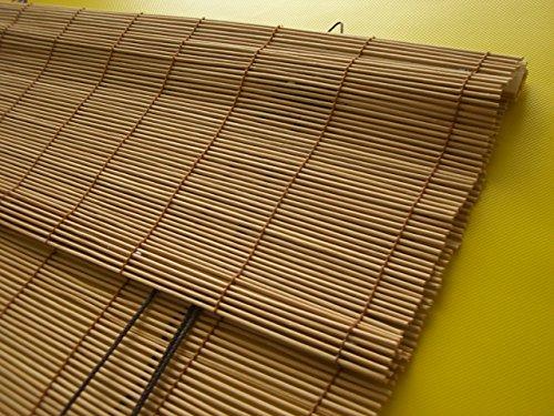 JalousieCrew Bambusrollo Bambus Raffrollo Kirschbaum Breite 60-140cm Länge 160 und 240cm Seitenzug Fenster Tür Rollos Holzrollo (120 x 160 cm)