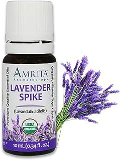 Amrita Aromatherapy Organic Lavender Spike Essential Oil, 100% Pure Undiluted Lavandula latifolia, Therapeutic Grade, Prem...
