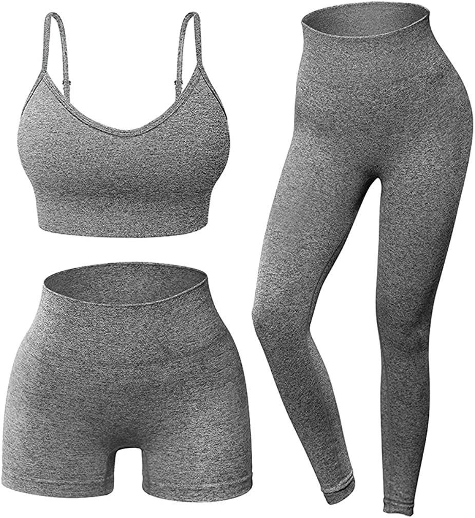 OQQ Women Yoga Outfit Seamless 3 Piece Workout Gym High Waist Leggings Shorts with Sport Bra Set