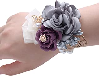 Florashop Satin Rose Wedding Bridal Corsage Bridesmaid Wrist Flower Corsage Flowers Pearl Bead Wristband for Wedding Prom Party Homecoming 2 pcs-Grey Wrist Corsage
