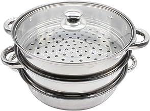 Yardwe Roestvrij Staal Stoompot met Glazen Deksel Metalen Stockpot Drie Laag Stoomboot Zeep Pot Boiler Pot Stomen Kookgere...