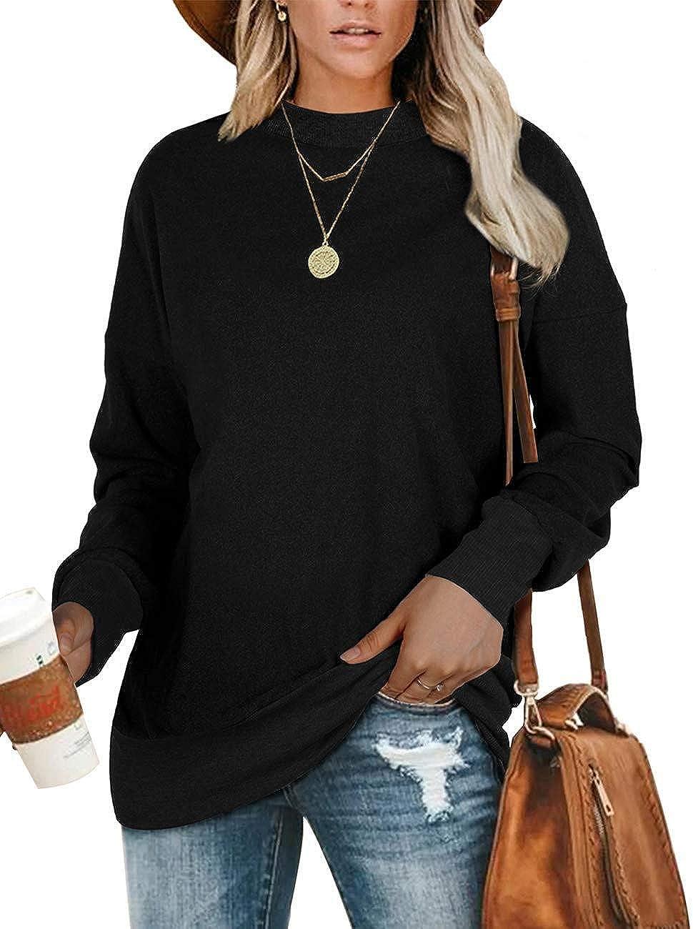 HARGLESMAN Womens Sweatshirts Fashion Casual Long Sleeve Crewneck Solid Pullover Tunic Tops Shirts