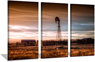 Hardy Gallery Windmill Artwork Rustic Landscape Picture: Farmhouse Painting Wall Art Print on Canvas for Bedroom (16'' x 26'' x 3 Panels)