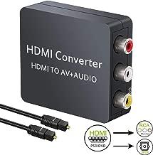 LiNKFOR HDMI to RCA Converter HDMI Audio Extractor 1080P HDMI to RCA AV CVBS Composite Video + SPDIF Toslink Optical/Coaxial Audio Converter Splitter Support PAL/NTSC for PS3 PS4 TV Box TV Stick Roku