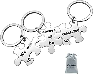 3PCS Best Friend Keychain Puzzle Keychain We Will Always Be Connected Keychain Long Distance Relationship Keychain Friendship Jewelry for Sisters Teens Birthday Christmas Gift