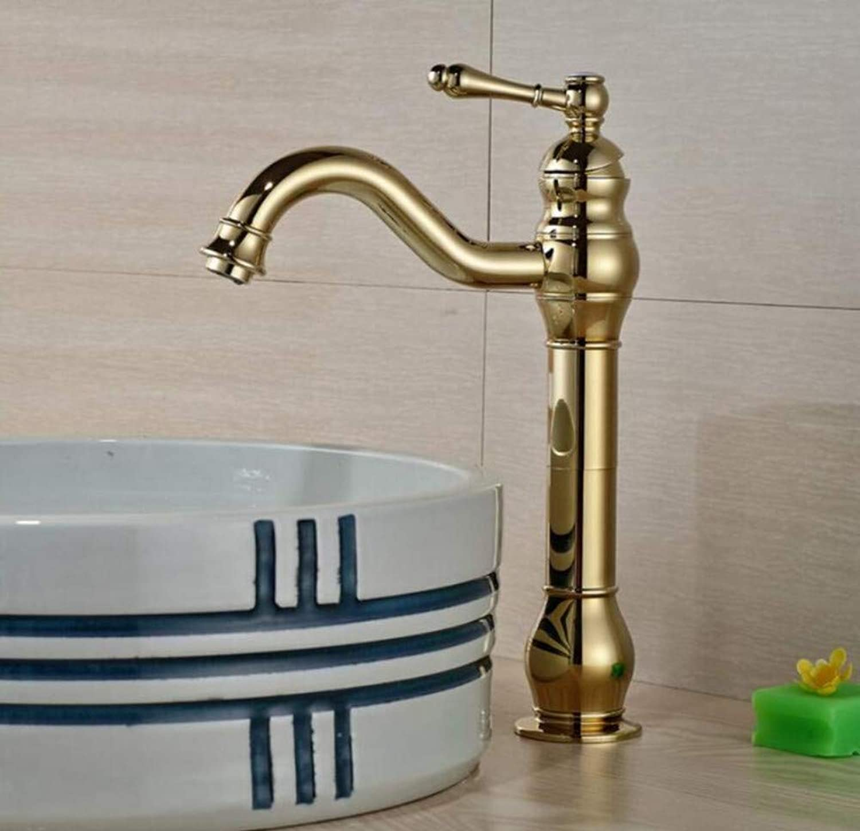 Copper Faucet Basin Quality Bathroom Sink Vessel Faucet Single Handle Basin Mixer Tap gold golden Finished