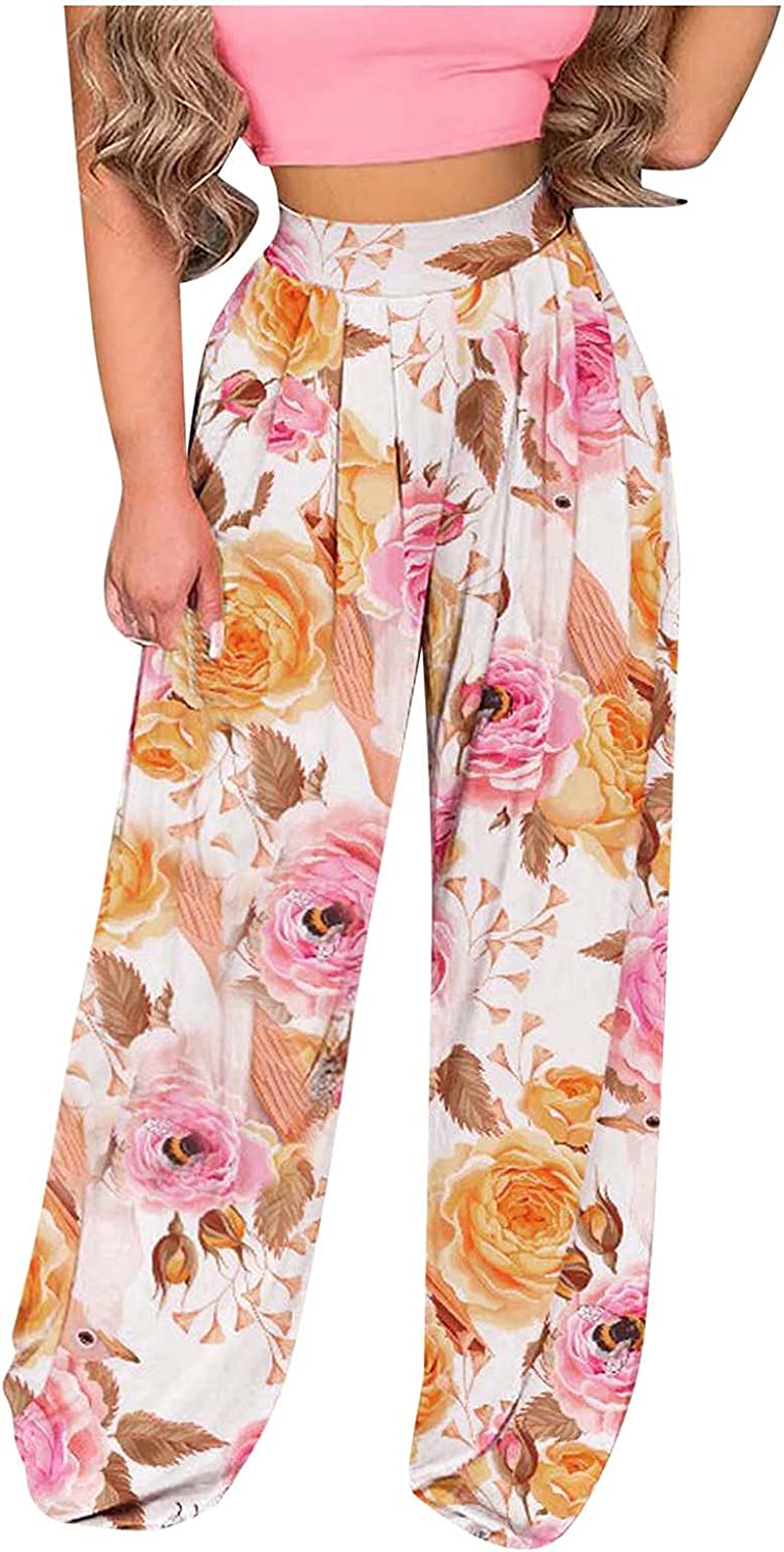 Women's Floral Print Casual Comfy Wide Leg Palazzo Lounge Pants High Waisted Wide Leg Beach Party Pants
