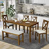 P PURLOVE 6 Piece Dining Table Set, Wood Dining Room Table and 4 Chairs with Cushions 1 Bench with Cushion, Retro Style Kitchen Table Set for 6 Persons, Brown