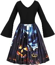 Hotopick Halloween Costume Women's Long Sleeve Pumpkins Vintage Evening Prom Costume Dress Christmas Clothes