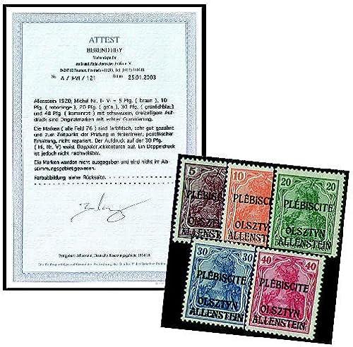 Goldhahn Deutsche Besetzung Allenstein Nr. II-VI postfrischgeprüft - Briefmarken für Sammler
