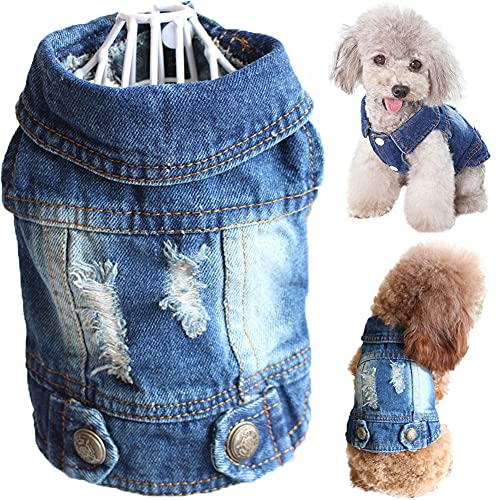 Strangefly Dog Jean Jacket, Blue Puppy Denim Clothes, Lapel Vests Vintage Pet Coat Apparel, Cool Classic Cowboy Dog Shirts Outfits Costume for Small Medium Large Boy Girl Baby Doggy and Cats (S,Blue)