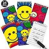 Bedwina - Bloc de notas en espiral, 24 unidades, 6,4 x 9,6 cm, varios diseños, con diseño de emoticonos, tamaño de bolsillo, para bolsas de regalos, calcetines de Navidad, regalos o premios