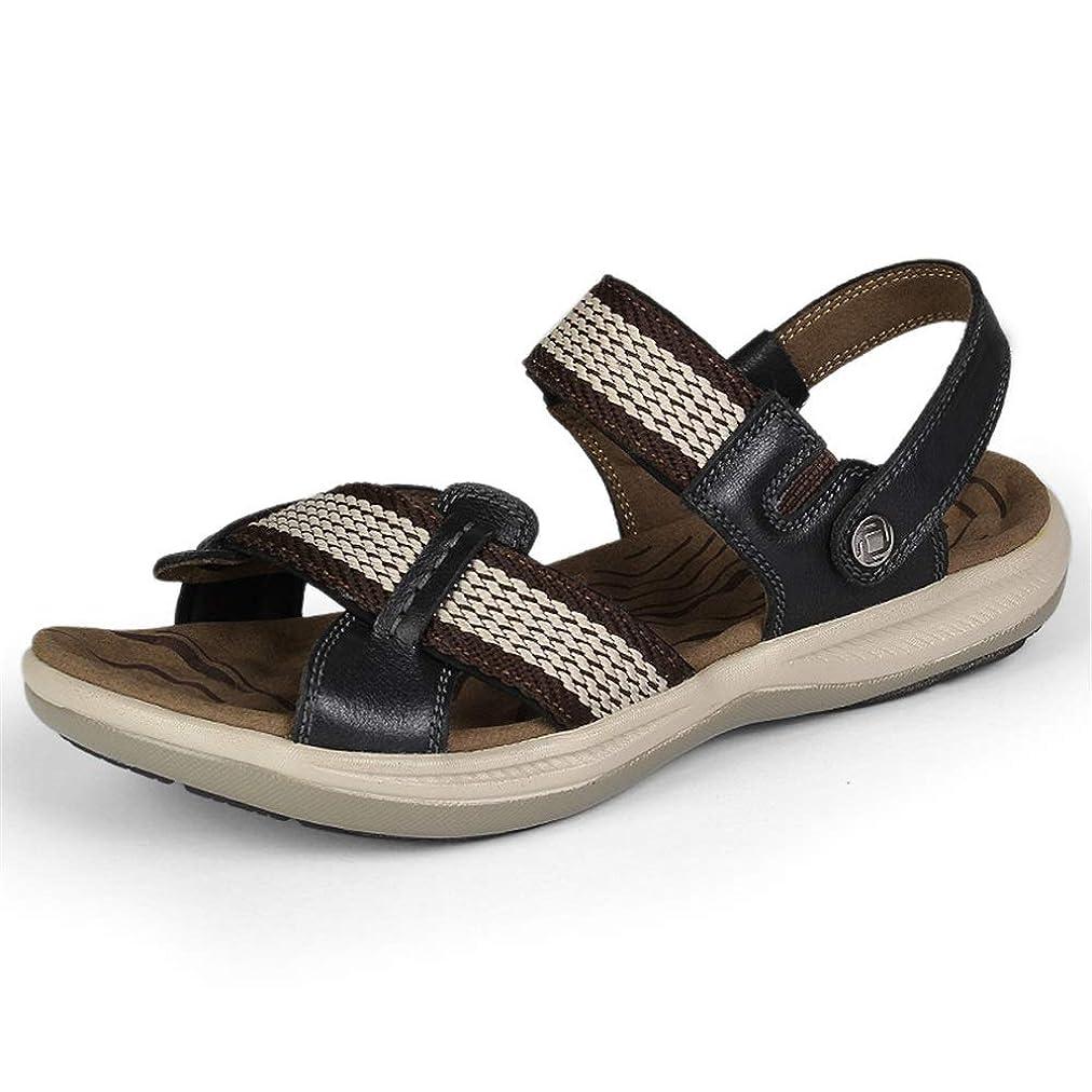 こどもの宮殿警戒パリティ靴メンズリラックス通気性のファッションサンダルカジュアルシンプルな軽量高品質織りリボンオープントゥ屋外スリッパ